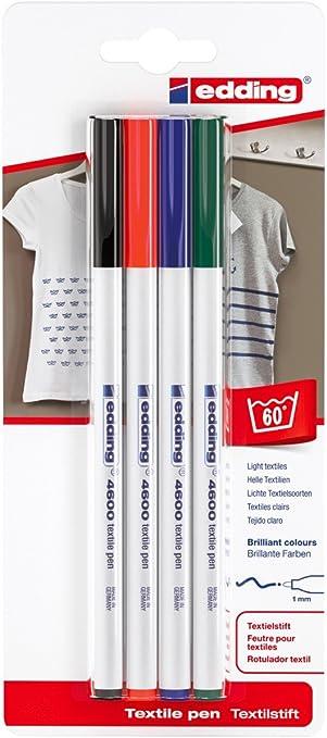 edding 4600 Textilstift 10 Etui Stift waschfest bis 60° durch Bügeln ohne Dampf