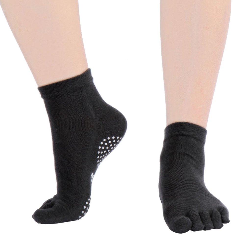 Antideslizante Calcetines de yoga mujeres Pilates Calcetines 1 pares Hospital rehabilitación más fuerte tracción agarre cinco dedos Yoga calcetines: ...