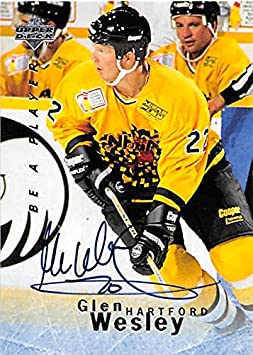 98d668df8 Autograph 157750 Hartford Whalers 1996 Upper Deck Bap No. S116 Glen Wesley  Autographed Hockey Card at Amazon s Sports Collectibles Store