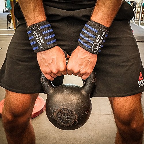WOD Nation Wrist Wraps by Wrist Support Straps (12'', 18'' or 24'') - Fits Both Men & Women - Strength Training, Weightlifting, Powerlifting - Lift Heavier Weight (18 Inch - Black/Dk Blue) by WOD Nation (Image #8)