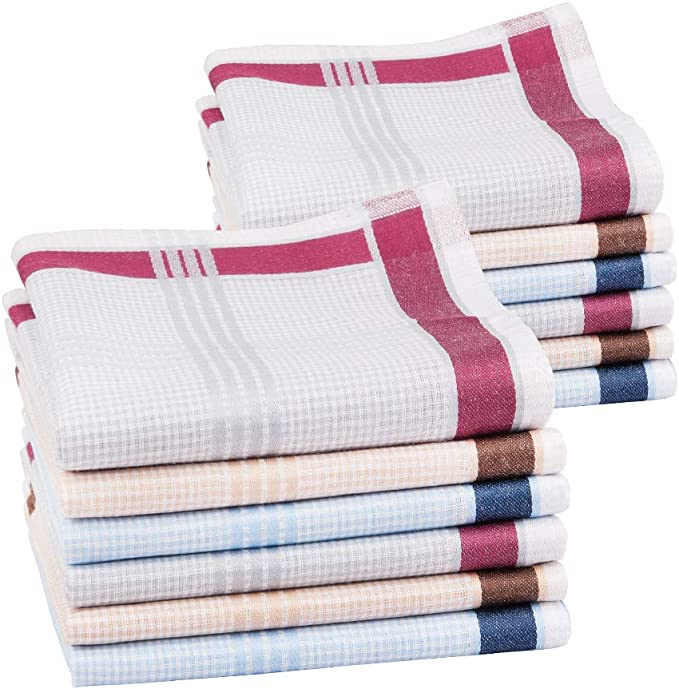Houlife Classic 100/% 60S Cotton Mens Stripe Checkered Pattern Handkerchiefs Assorted Soft Plaid Hankies for Casual Fathers Day Gift 6//12 Pieces 17x17//43x43cm