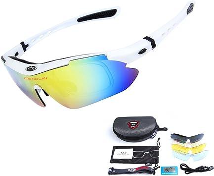 OBAOLAY Unisexo Polarizado Deportes Gafas de Sol con 5 Intercambiables Lentes Conduciendo Vidrios para Ciclismo Pescar Excursionismo Golf,Blanco: Amazon.es: Deportes y aire libre