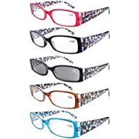 Eyekepper 5-Pack Spring Hinge Reading Glasses Floral Arms Includes Sunglass Readers +0.75