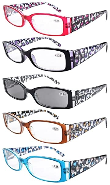 93d0d46a910 Eyekepper 5-Pack Spring Hinge Reading Glasses Floral Arms Includes Sunglass  Readers +1.25
