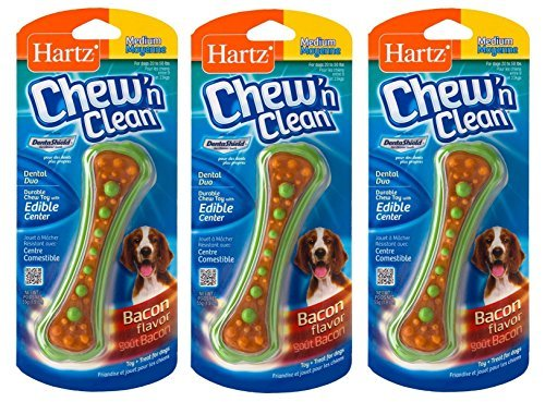 Hartz Chew N' Clean Assorted Colors Dental Duo Toy and Edible Dog Chew (Medium/Small (Set of 3)) Duo Dog Toy