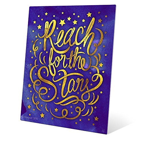 Matte Non-Metallic Gold on Blue Reach For The Stars Metal Art