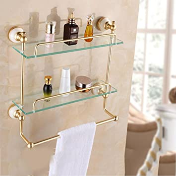 Amazon.com: Gold Bathroom Shelf / Bathroom Shelf / Glass Dressing ...