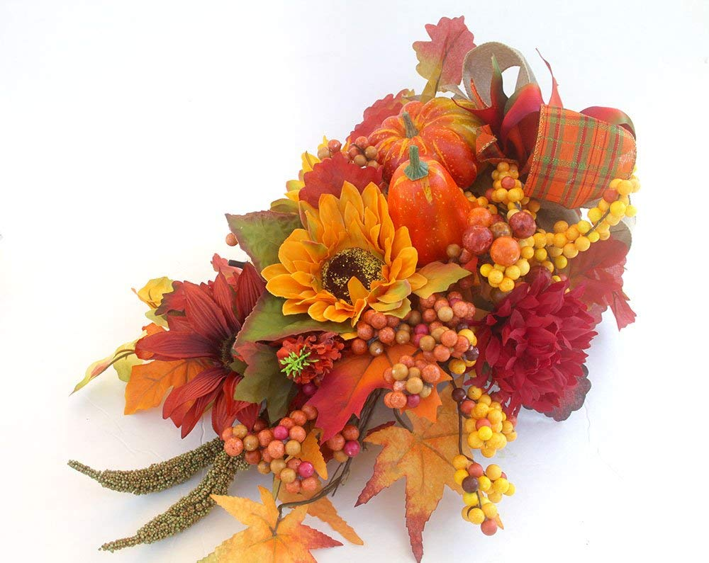 Large Elegant Fall Cornucopia centerpiece, horn of plenty, Thanksgiving centerpiece for the table, fall decor