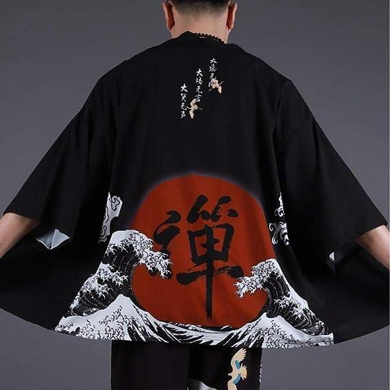 Hombres Yukata Haori Japonesa Kimono Hombres Chaqueta De Punto Samurai Kimono Hombre De La Chaqueta Kimono Camisa De La Ropa Traje Yukata Haori Zzzb (Color : Black, Size : XXL): Amazon.es: Hogar
