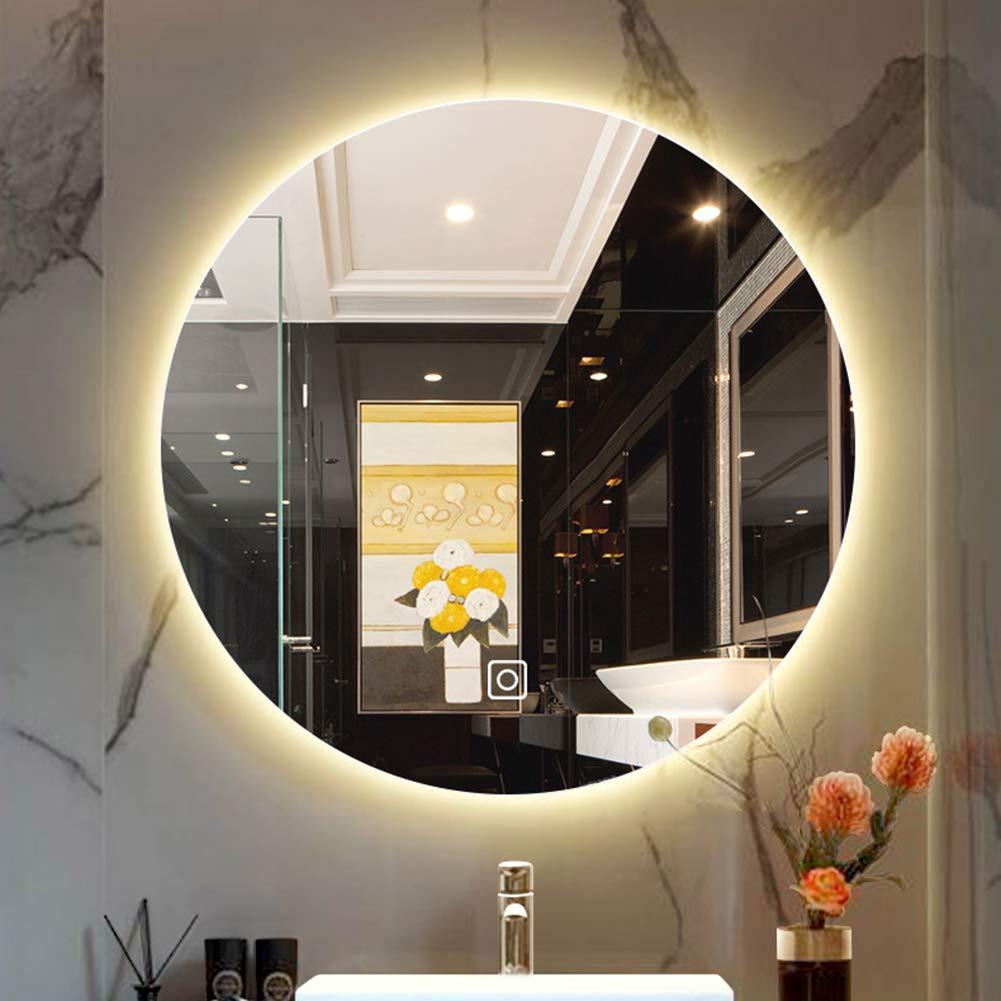 ZYFA バスルーム洗面化粧鏡 壁取り付けLED照明ミラー タッチスクリーンスイッチ 照明付きメイクアップミラー シェービング用 自宅やホテルでの使用に最適 80cm 80cm Warm Light B07RKR433Z