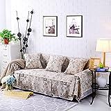 RUGAI-UE Sofa Slipcover Cotton fabric sofa full cover sofa cover sofa package sofa cushion antiskid cloth,Four seater 215×350cm,Young white