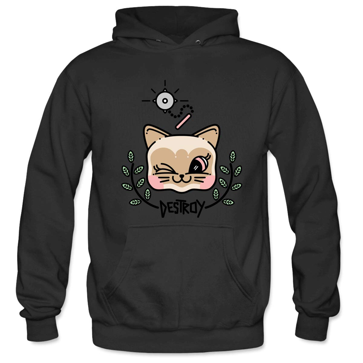 Mens Destroy Kitty Hooded Sweatshirt Funny Printed Pullover Hoodies Classic Long Sleeve T Shirt Tops