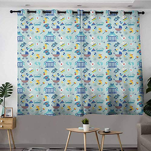 Indoor/Outdoor Curtains,Baby Newborn Sleep Crescent Moon Pacifier Nursery Star Polka Dots Image,Great for Living Rooms & Bedrooms,W72x63L Pale and Violet Blue Yellow