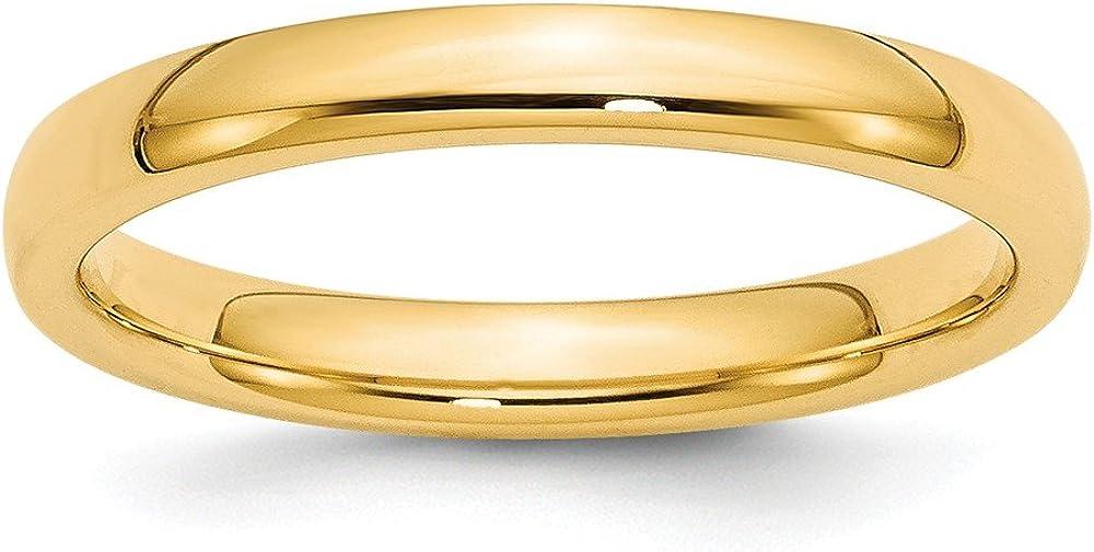 Jewel Tie 14k Yellow Gold 3mm Comfort-Fit Wedding Band