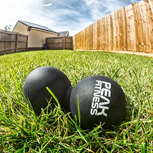Ultimate Double Lacrosse Peanut Ball Massager. For Sports Injuries, Spine and Muscle Strains. In Black or Orange. Myofascial Tension Release Mobility Therapy Set by Peak Fitness. Lifetime Guarantee.