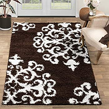 Blue Nile Mills Olesia Shag Area Rug, Super Soft, Extra-Thick Pile, Plush, Shabby-Chic, Industrial, Luxury, Retro Style, Jute Backing, Brown-White, 5' x 8'