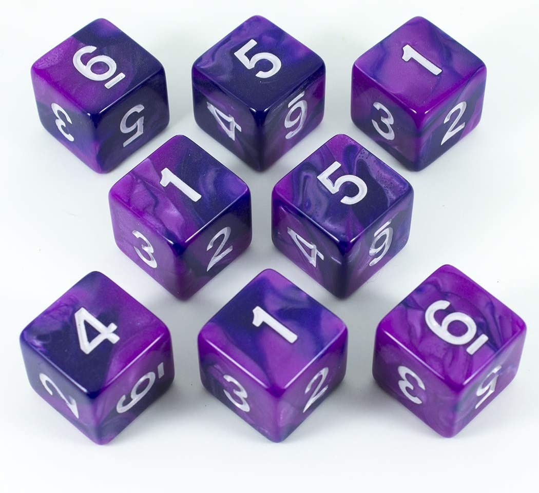 Paladin - Juego de dados de golf, 8 D6, color morado y índigo: Amazon.es: Juguetes y juegos
