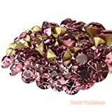 (Light Purple, ss16, 4mm, 1440pcs) Pointed Back Round Glass Faceted Rhinestones Scrapbooking Cabochon Nail Art Craft