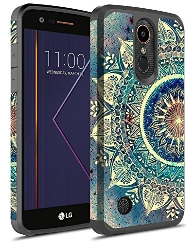 LG K20 Plus Case, LG K20 V Case, LG K20 Case, LG Harmony Case, LG Grace Case, Rosebono Hybrid Dual Layer Shockproof Hard Cover Graphic Fashion Colorful Silicone Case for LG LV5 (Green Mandala)
