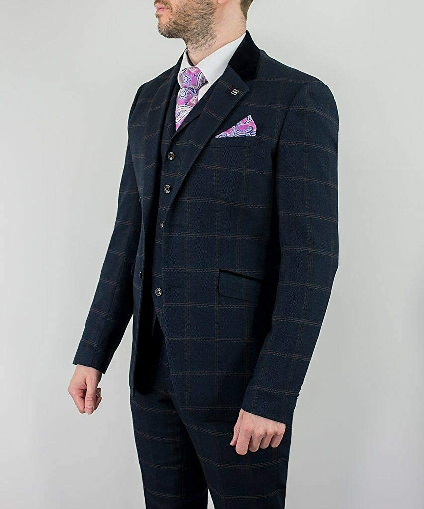 Connall Navy House of Cavani Mens 3 Piece Check Tweed Tailored Fit Suit