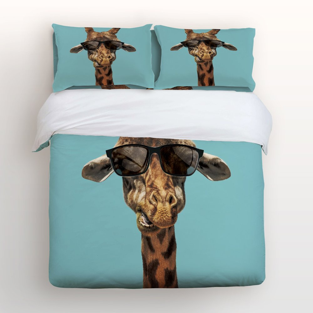 Libaoge 4 Piece Bed Sheets Set, Cute and Lovely Giraffe Print, 1 Flat Sheet 1 Duvet Cover and 2 Pillow Cases