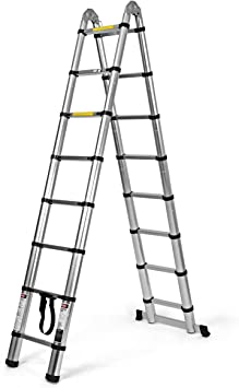 COSTWAY Escalera Telescópica de Aluminio Escalera Alta Portátil para Hogar Oficina Exterior (5 metros): Amazon.es: Bricolaje y herramientas