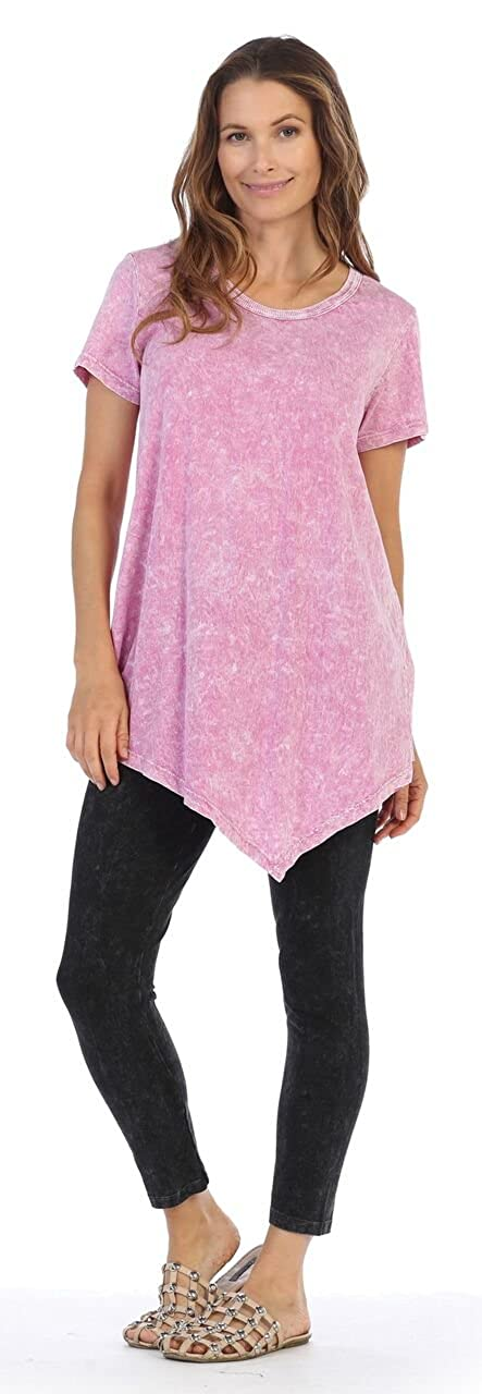 Jess /& Jane Womens Magenta Mineral Washed Cotton Short Sleeve Asymmetric Tunic Top