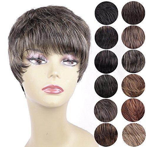 Ty.Hermenlisa Women Wigs-Jennifer, Human Hair Mixed with Heat Resistant Fiber, 75g, Dark Ash Brown(#6.8G) Jennifer Wig