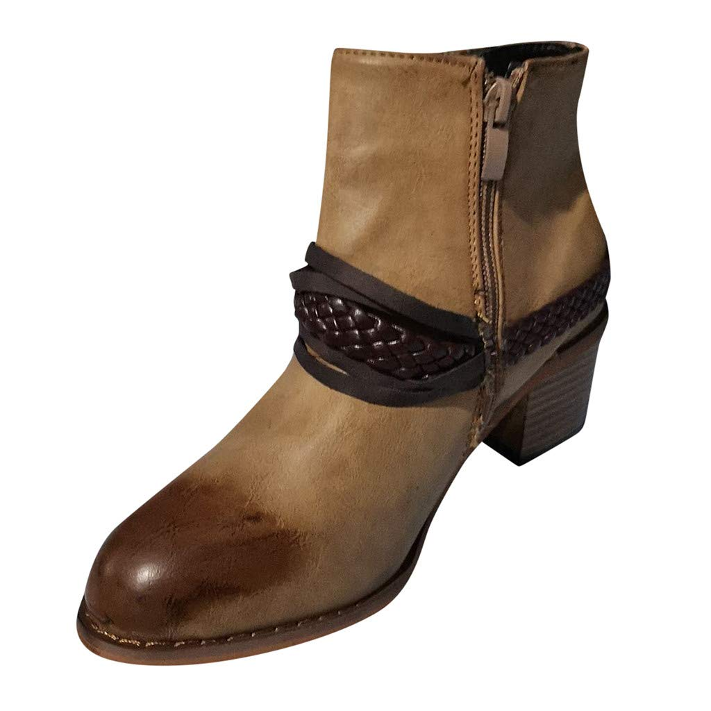 DRAGONHOO Boots for women,Women's Round Toe Low-Heele Zipper Roman Shoes Western Knight Ankle Boots (39, Brown) by DRAGONHOO