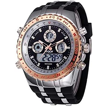 WULIFANG Alta Calidad De Mens Relojes Reloj Deportivo De Lujo De La Marca Superior De Cuarzo Analógico Digital Watch Relojes Led Militar Silver-Gold: ...