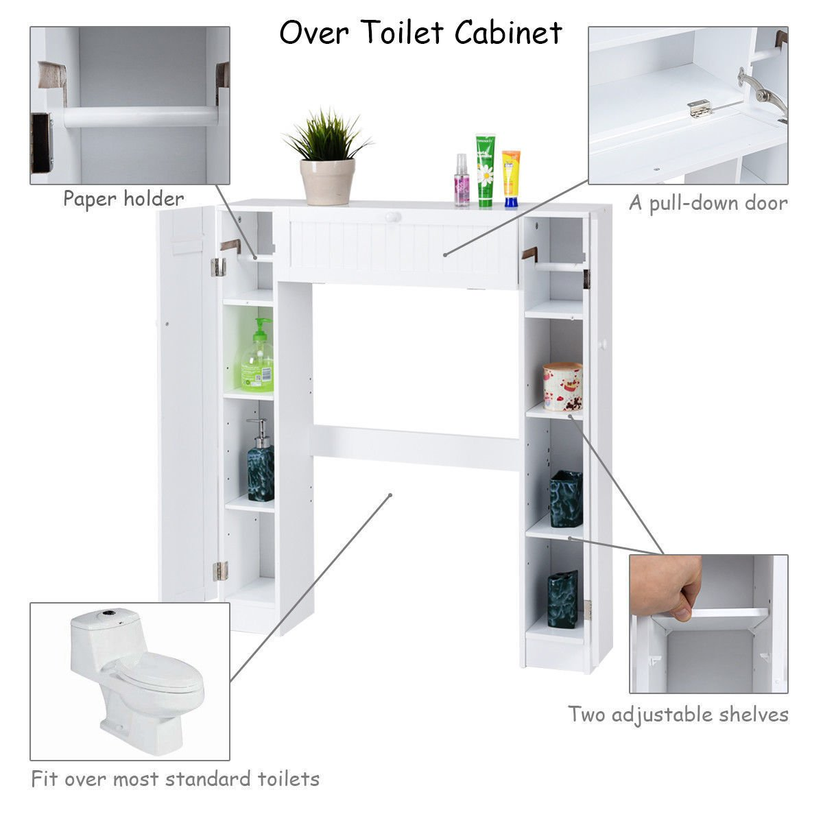 Amazon.com: Classic White Louvered Over The Toilet Storage Cabinet Bathroom  Spacesaver Caddy: Kitchen U0026 Dining