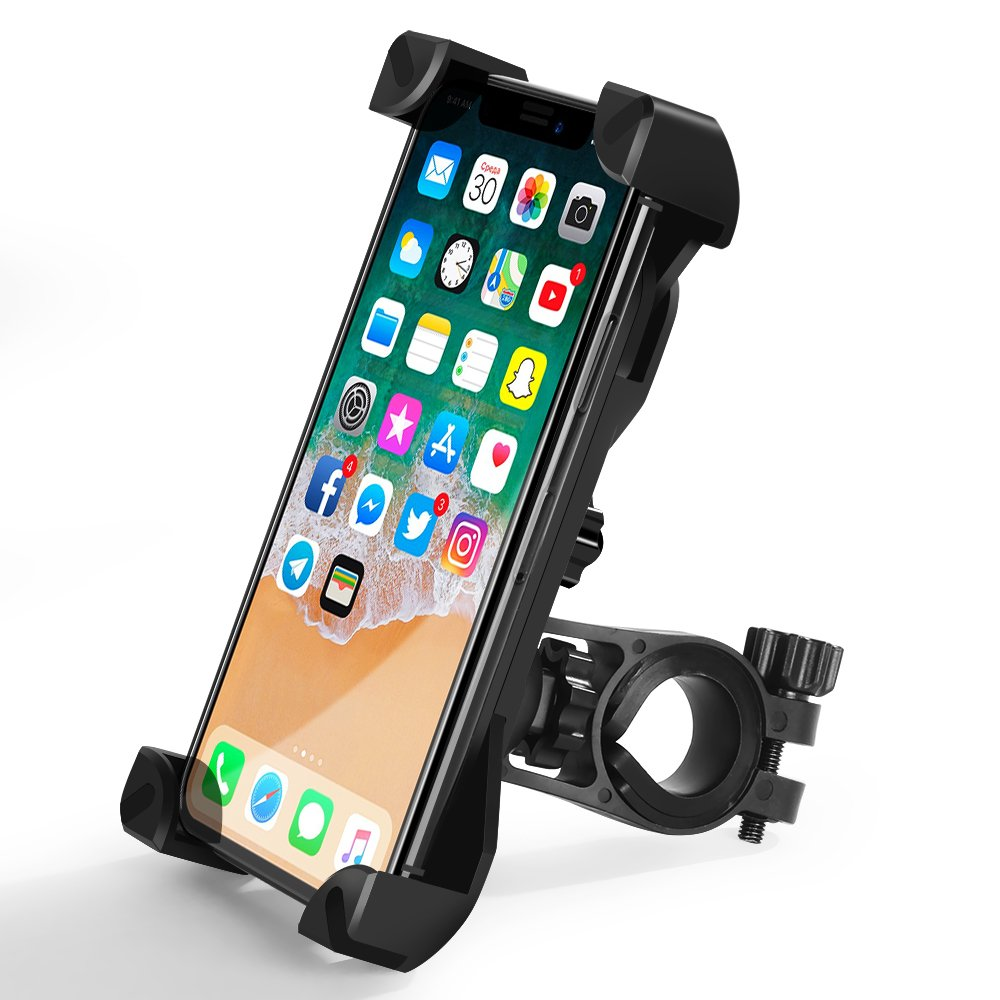 Bicycle Holder, TIQUS Adjustable Motorcycle Bike Phone Holder Handlebar Mount Compatible for iPhone XS/ X, 8/ 8 Plus, 7/ 7Plus, 6s/ 6s Plus, 5s, Galaxy S9/ S9 Plus, S7/ S7 Edge, S6, GPS and Other Devices Shijihuaxia