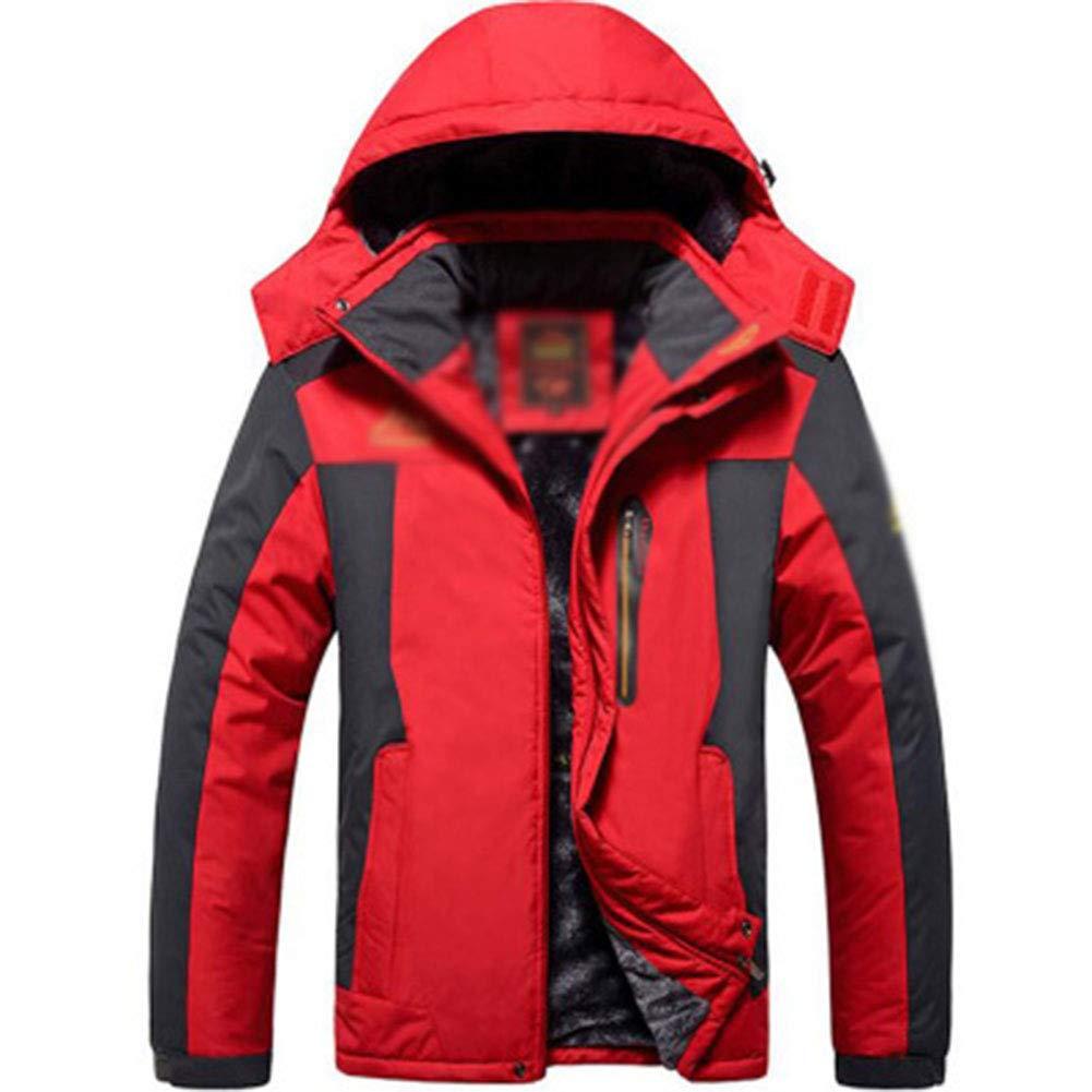 SHR-GCHAO Large Size Männer Plus Samt Dicke wasserdichte, atmungsaktive Jacke Outdoor-Sport Reiten Ski-Mantel,Rot,3XL