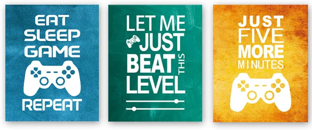 """Unframed Funny Video Game Themed Wall Art Print Inspirational Quotes Art Painting, Set of 3(8"""" x10 ) Gaming Poster Watercolor Artwork Canvas for Kids Boys Room Decor"""