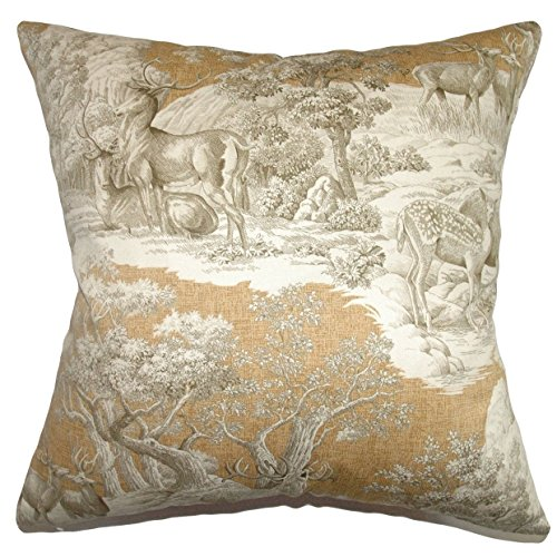 The Pillow Collection Feramin Toile Floor Pillow Safari Front by The Pillow Collection