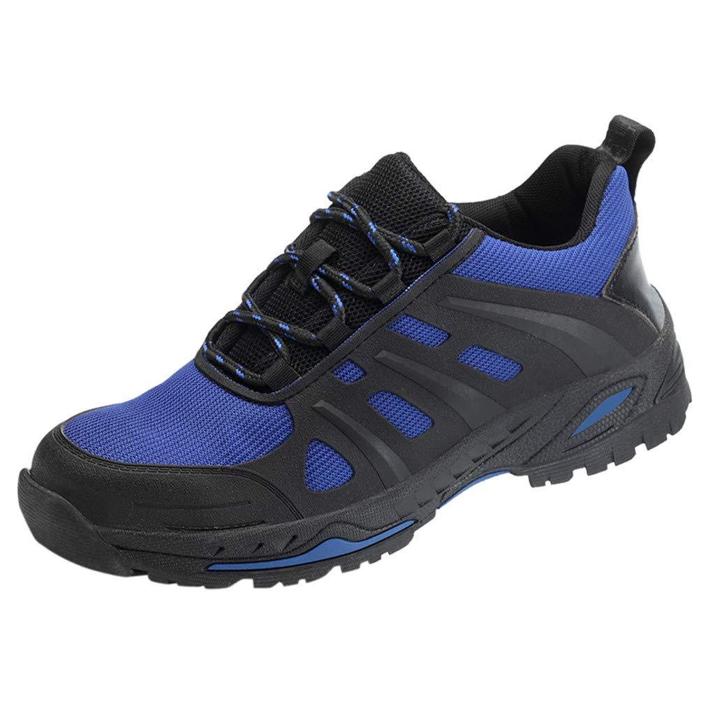 KauneusSteel Toe Work Shoes for Men Women Safety Shoes Breathable Industrial Construction Shoes Slip Resistant Blue by Kauneus Fashion Shoes