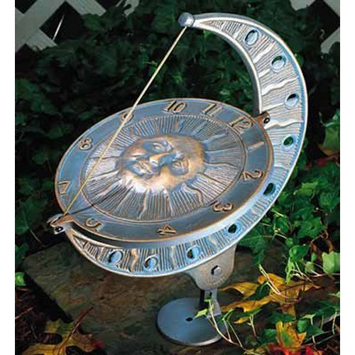- Whitehall Products, Sun and Moon Aluminum Sundial 01273, 8.75 inches wide by 15.5 inches high, copper verdigris