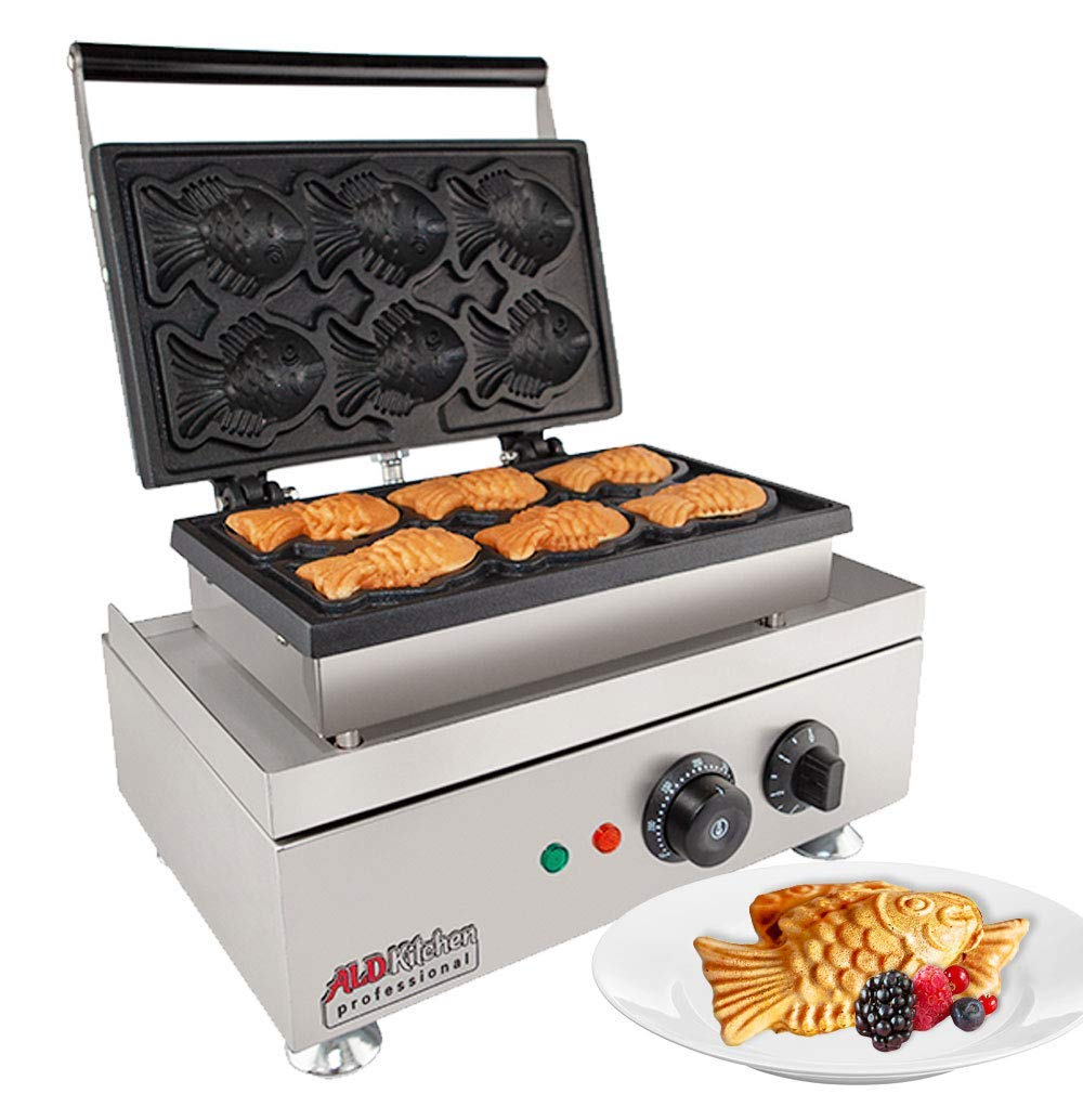 ALDKitchen Taiyaki Fish shaped Cake Waffle Maker 110V | ALDKitchen 6 pcs Commercial Use Jam or