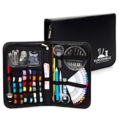 Kuroshikuz Premium Sewing Kit for Kids & Adults | Organized 88-Piece Set with Sewing Threads, Needles, Buttons, Notions | Mini Portable Kit for Emergency Repairs at Home or During Travel: Arts, Crafts & Sewing