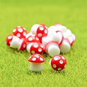 Danmu 10pcs Mini PVC Mushrooms Miniature House Fairy Garden Micro Landscape Home Garden Decoration Plant Pots Bonsai Craft Decor (Red)