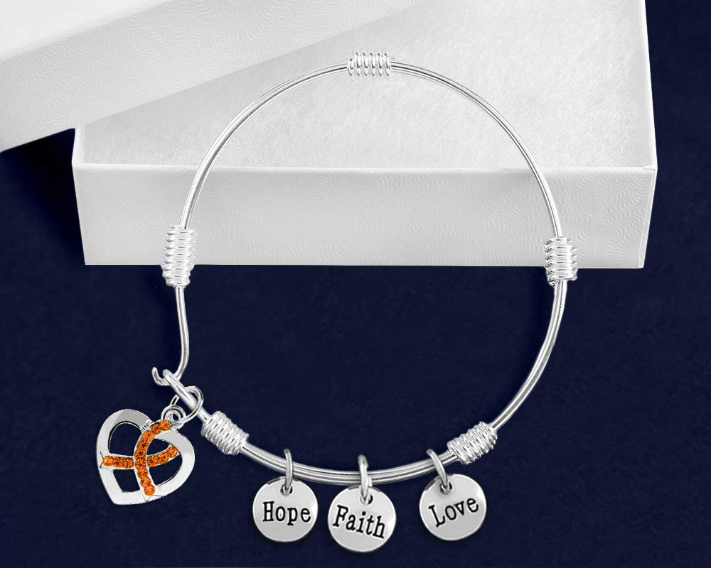 10 Bracelets Individually Bagged 10 Pack Kidney Cancer Awareness Orange Ribbon Chunky Charm Bracelets