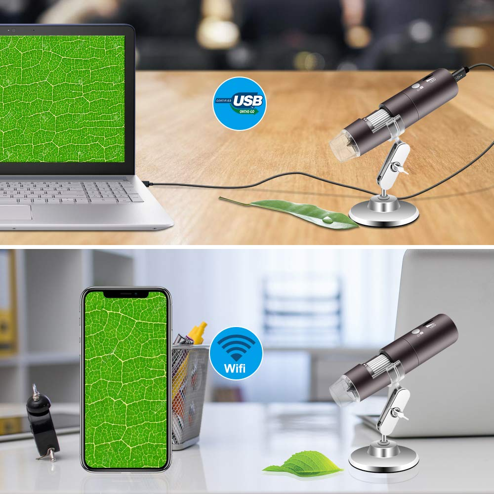 Veroyi Wireless Digital Microscope 1080P 50X to 1000X WiFi Pocket Magnification Magnifier, Rechargeable USB Microscope (Gray) by Veroyi (Image #7)