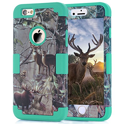 3-P iPhone 6/6S (4.7inch) Case,Harsel Heavy Duty Rugged Impact Resistant Hybrid 3 Layer Fully Sealed Armor Protective Camo Deer Tree Pattern Case Hard Shockproof Cover for iPhone 6/6S (Teal-Deer)