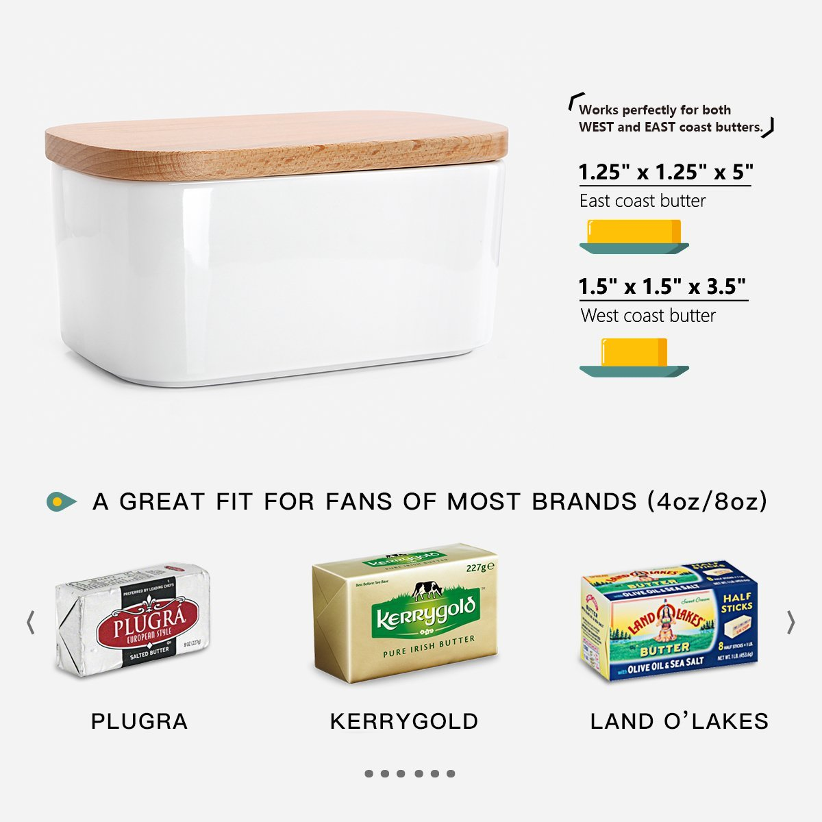 [NEW AND IMPROVED] Sweese 3151 Large Butter Dish - Airtight Butter Keeper Holds Up to 2 Sticks of butter - Porcelain Container with Beech by Sweese (Image #7)