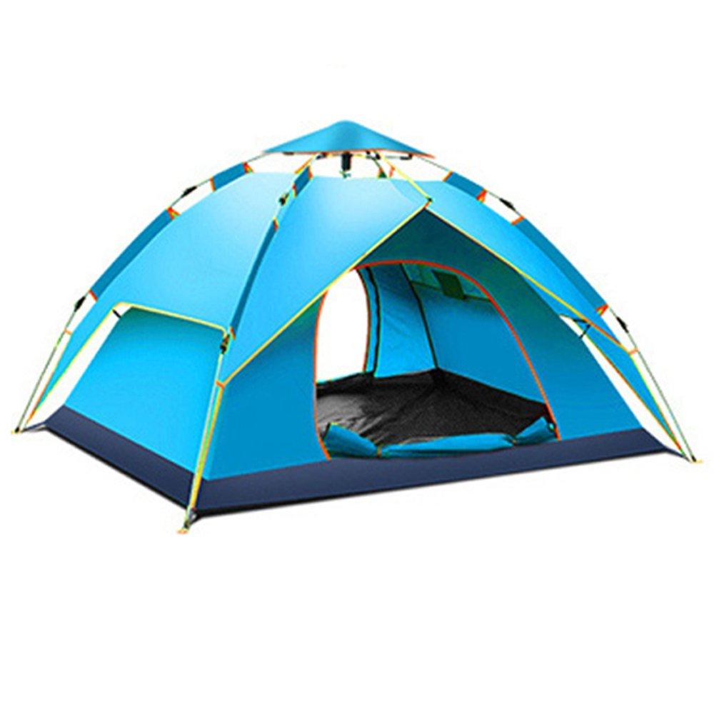 自動ポップアップテント、油圧スプリングテント、屋外防水二重層テント、天幕、展望台、3-4人家族キャンプテント、キャンプ、ハイキングテントFyxd (色 : 青)  青 B07DB9CBZW