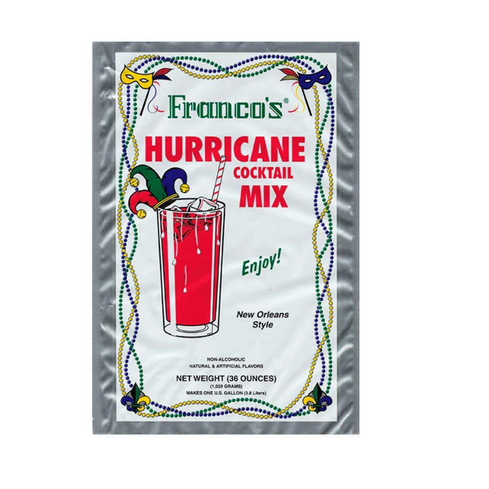 Franco's New Orleans Style Hurricane Cocktail Mix, 36 Ounces (Makes 1 Gallon)