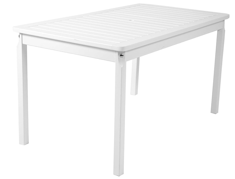 Ambientehome Gartentisch Tisch Massivholz Esstisch EVJE, Weiß, ca. 135 x 77cm