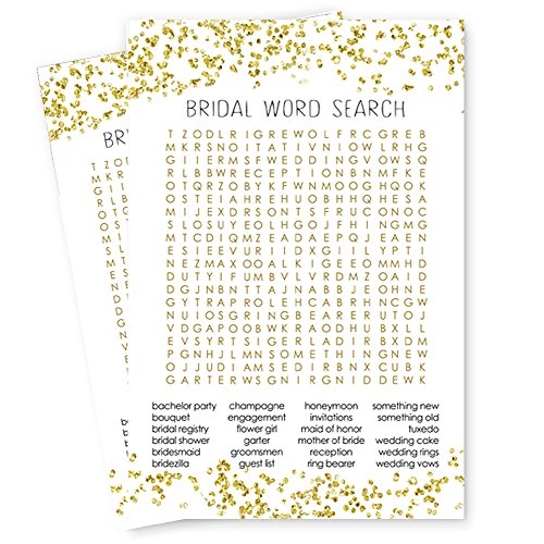 Abstract Bridal Shower Word Search Game Card -