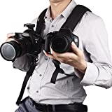 Amartshow Quick Release Double Dual Camera Shoulder Strap Harness Adjustable Dual Camera Sling Camera Neck Strap for Canon Nikon Sony Pentax Panasonic DSLR SLR Cameras
