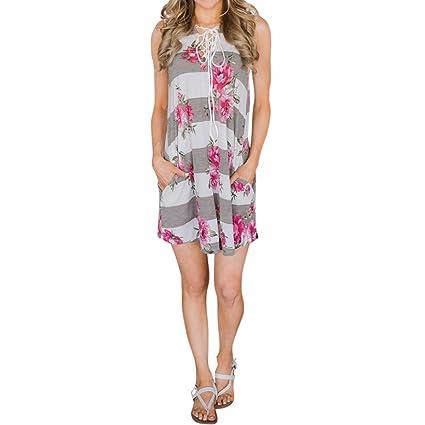 Vestido sencillo para mujer – Saihui suelto sin mangas con estampado floral espalda sin cuello en